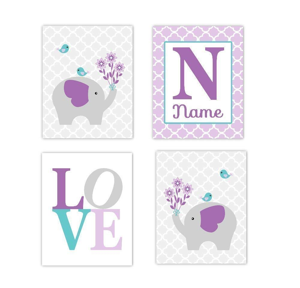 Baby Girl Nursery Wall Art Elephant LOVE Purple Lavender Teal Aqua Personalized Name Art Baby Nursery Decor Girl Room Print SET OF 4 UNFRAMED PRINTS