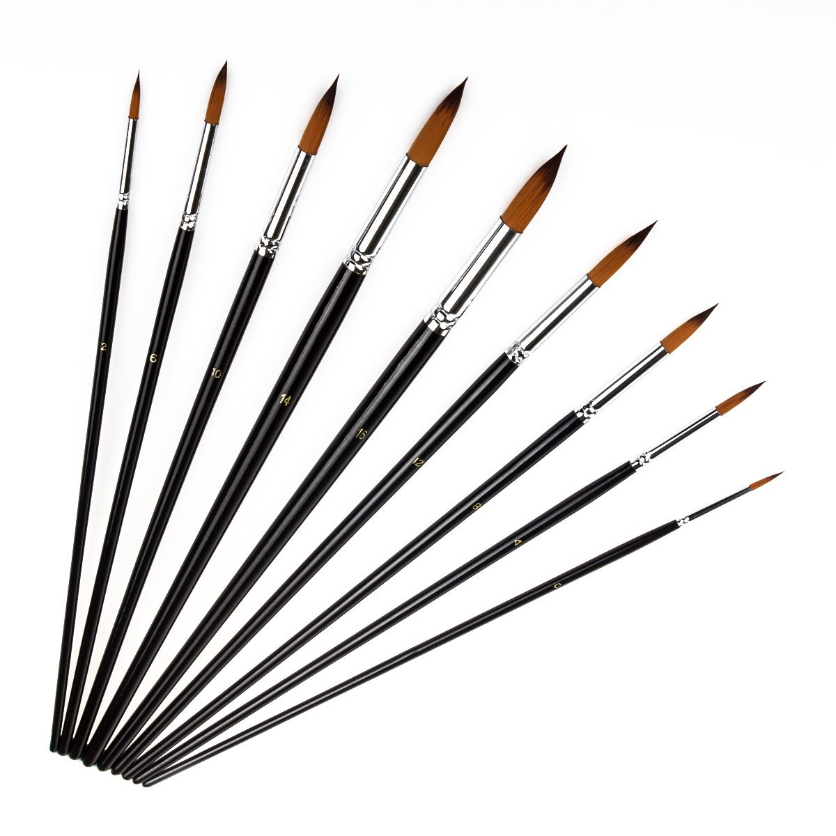 STARVAST Painting Brushes, 9pcs Professional Pointed-Round Nylon Hair Artist Acrylic Paint Brush Set for Watercolor /Oil / Acrylic / Crafts / Rock / Face Painting and Gouache-Black