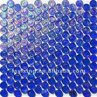 Penny blue vitreous glass round shape mosaic tile