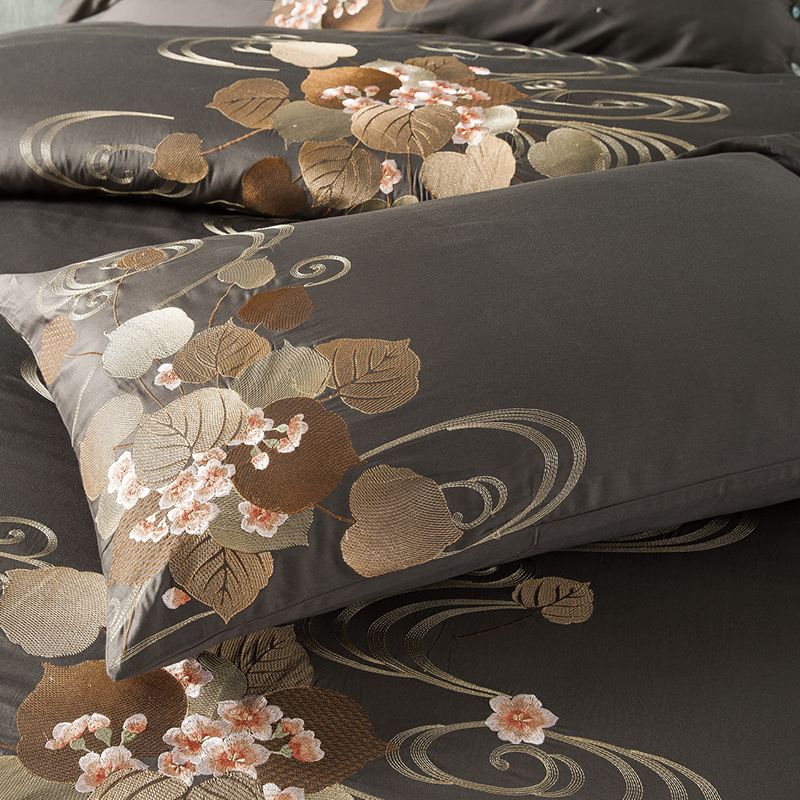Long-staple cotton fabric embroidery brown colour luxury sheets bed four set of bedding set