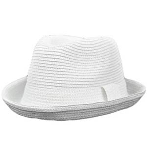 6946a414aaf Get Quotations · Solid White Fits One Size 100% Paper Fedora Stetson  Homburg Bowler Flip Bowl Hat