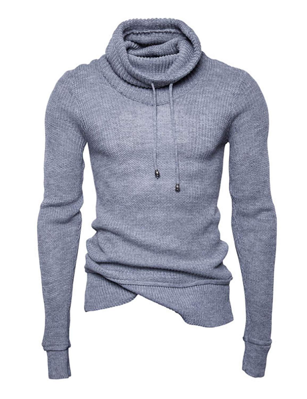 BU2H Women Cowl Neck Oblique Zipper Long Sleeve Fashion Sweatshirt Jacket