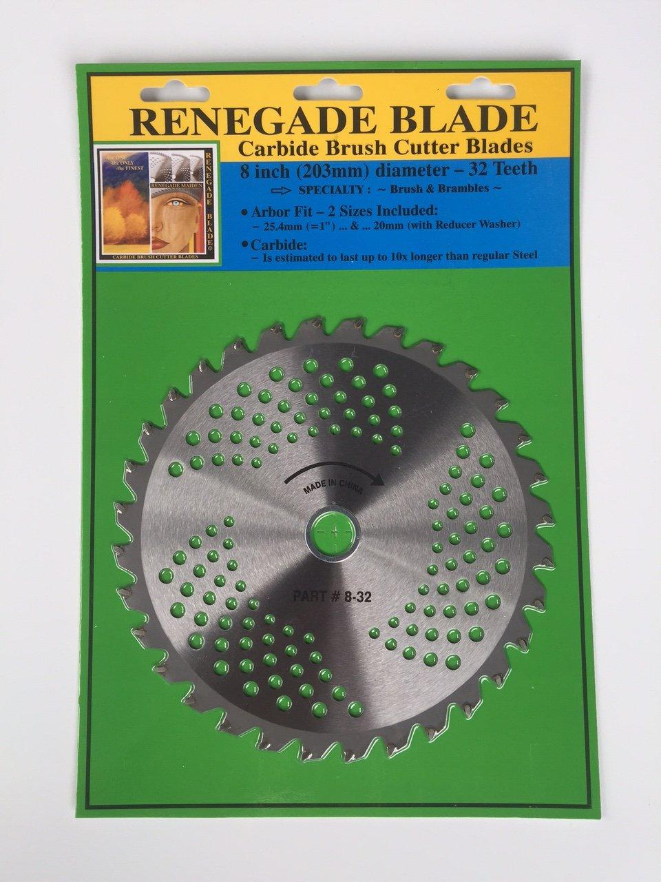 "4pk-8/""-32t /""RENEGADE BLADE®/"" CARBIDE brush cutter Trimmer BLADES 203mm dia."