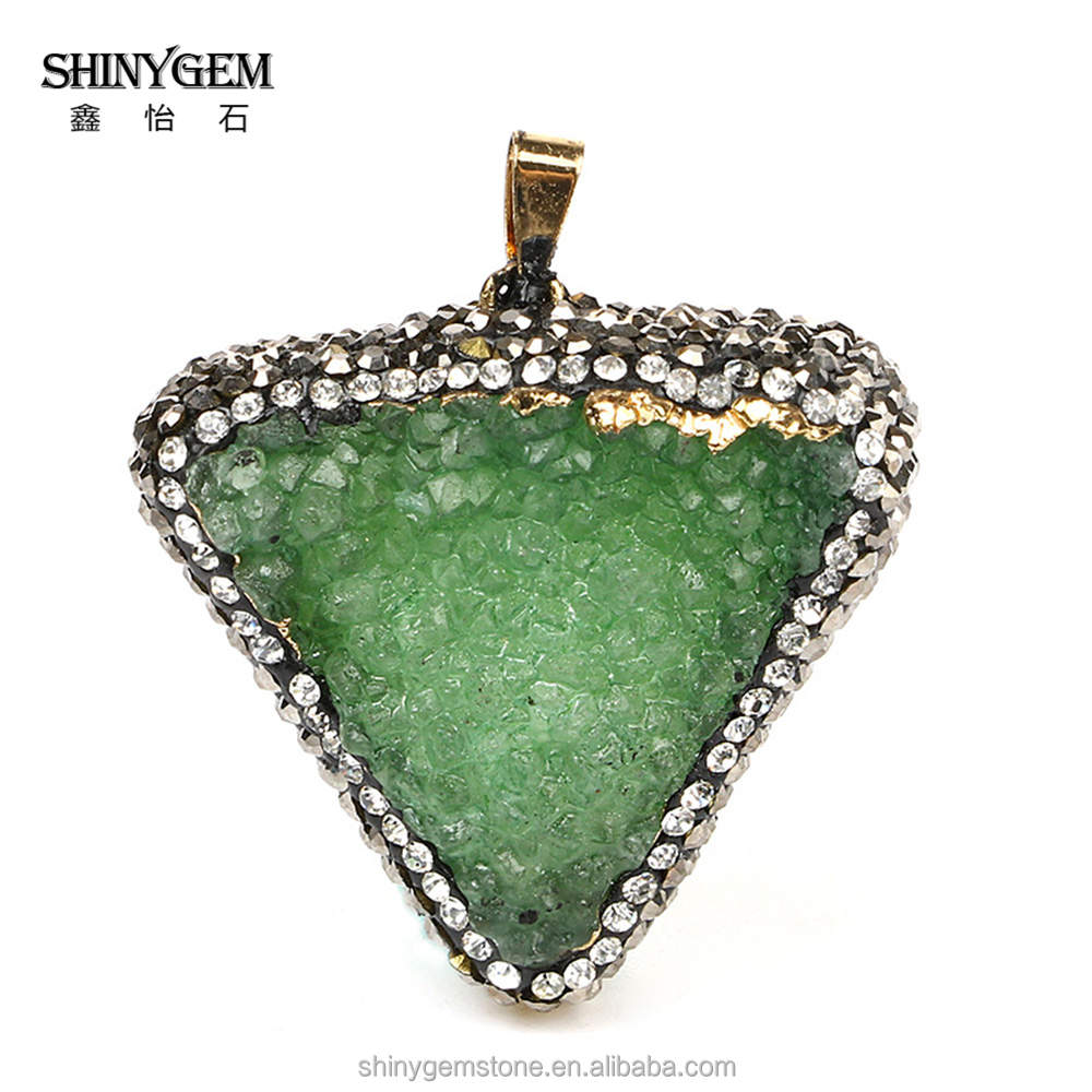 Hot sale inlay cubic zircon pendant natural druzy necklace quartz crystal stone supplier charm jewelry manufacturer