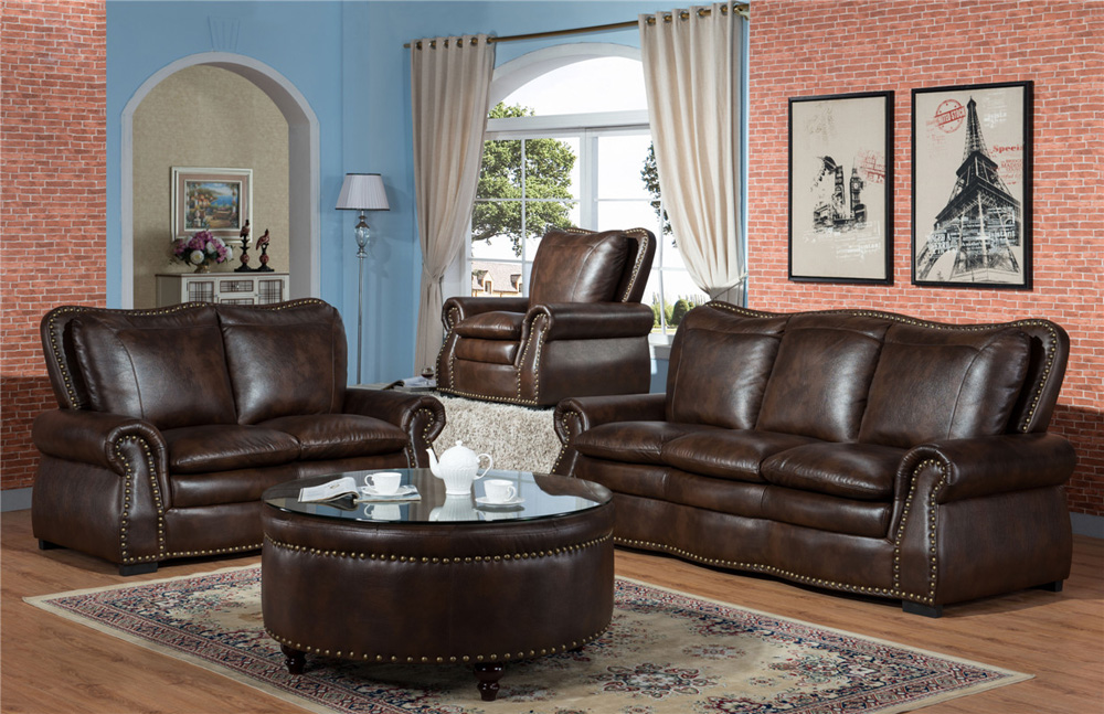 American Style Leather Sectional Sofa Living Room Furniture Luxury Set Country Sets Royal