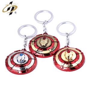 Wholesale metal 3D red paint gold silver bronze round keychains for Ironman