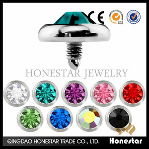 Fashion S 316L Steel GEM Flat CZ Steel MICRO DERMAL ANCHOR HEAD Accessory jewelry