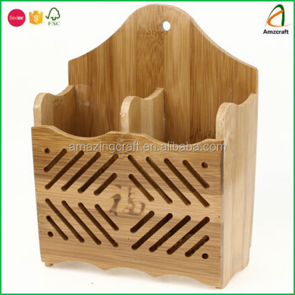 Bamboo Wooden Pen Pencil Stationery Container Organizer Box,with Two Compartments