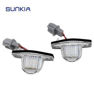 SUNKIA Error Free Car LED License Plate Lamp for Honda Crosstour/FR-V/Jazz (Fit) /Odyssey with E-mark White 18SMD