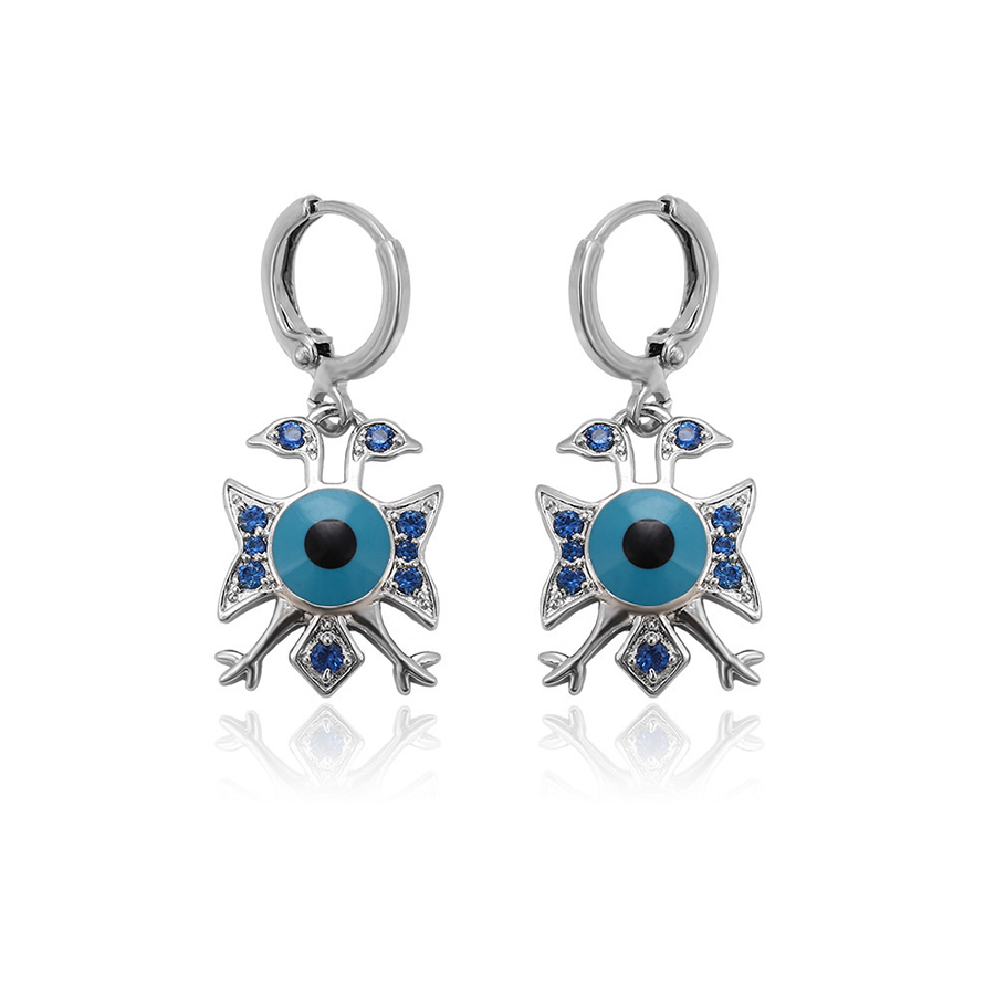 28450 xuping blue turkish eye with red stone beautiful crystal drop earring designs for women Islamic fashion jewelry фото