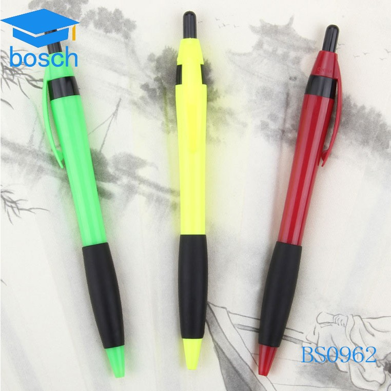 simple but cheap plastic promotional advertise ball pen with silkscreen LOGO