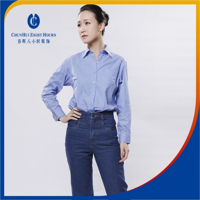 Supplying blue ladies office bouse business uniform designs 2016