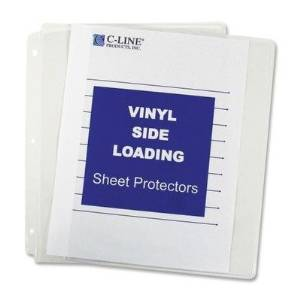 C-Line Products, Inc. Products - Sheet Protectors, Side Load, Vinyl, 11amp;quot;x8-1/2amp;quot;, 50/BX, Clear - Sold as 1 BX - Sheet protectors are sealed on three sides like top-loading protectors, but papers are inserted from the ring binding edge. Side-loading design keeps high-use materials
