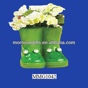Frog Rain Boot Flower Design Garden Decor Ceramic Planters