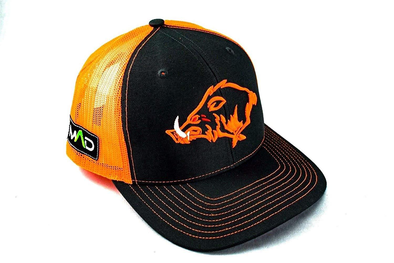 Hunting trucker hat, hunting hog hat, hunting hat, MAD Hog, pig, Hunter, snapback, tactical, Richardson, trucker hat, hunting life, neon orange
