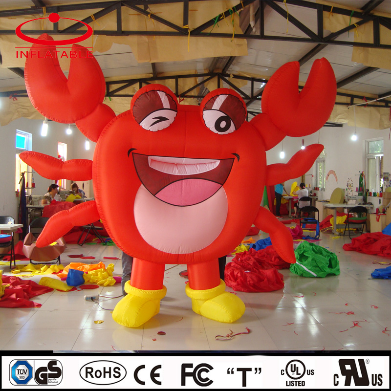 red color advertising inflatable crab, inflatable promotion laughing crab