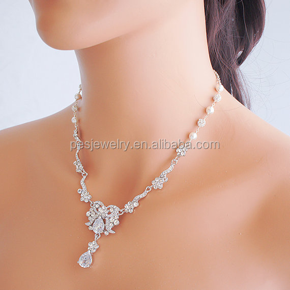 PES fashion jewelry! Victorian Style Flower Leaf Wedding Bridal Necklace Y Drop Pearl (PES100-324)