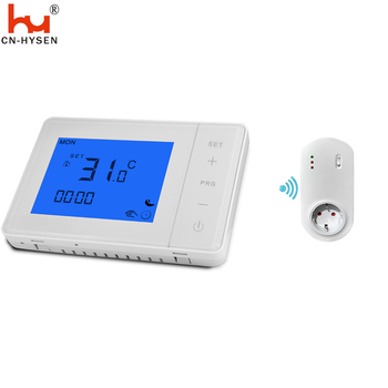 Wireless Thermostat RF Plug Digital Temperature Controller with Remote Control, Built in Temp Sensor, LCD Display with Backlight