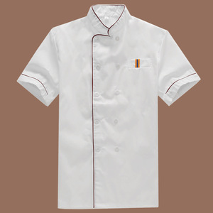 Summer Good quality customized overalls short sleeve White restaurant chef uniform Workwear for unisex A-161