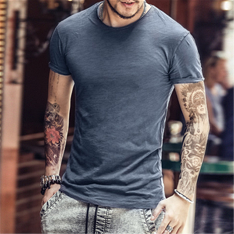 factory wholesale new bamboo cotton solid color Slim fit short-sleeved T-shirt OEM/ODM service brand custom free design