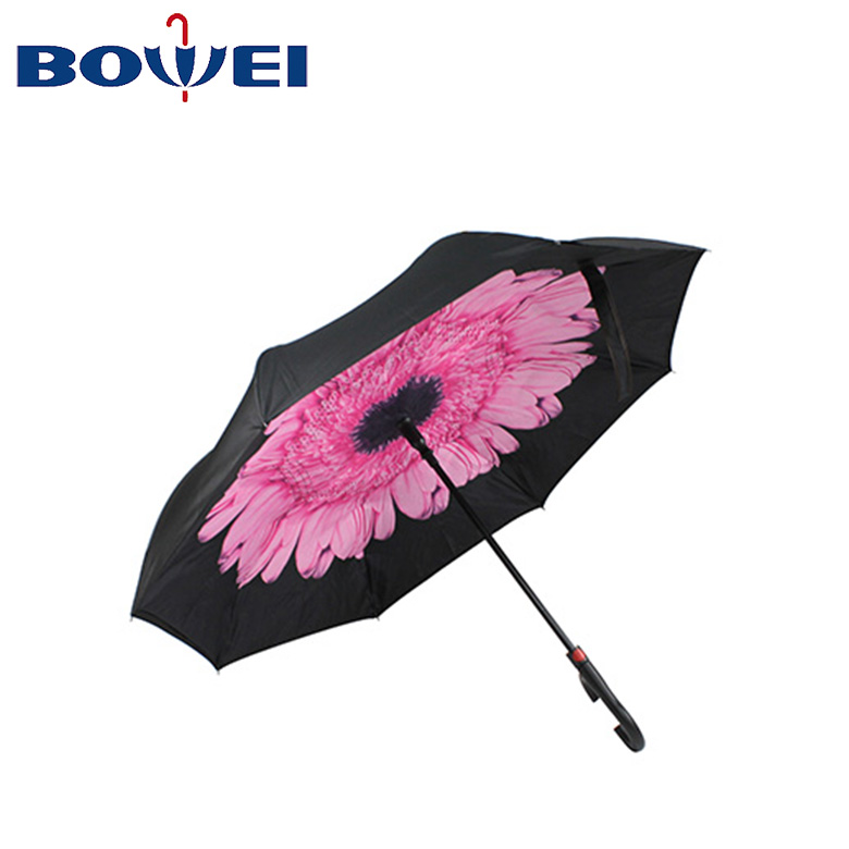 Automatic double layer waterproof C handle  flower inside inverted reverse umbrella