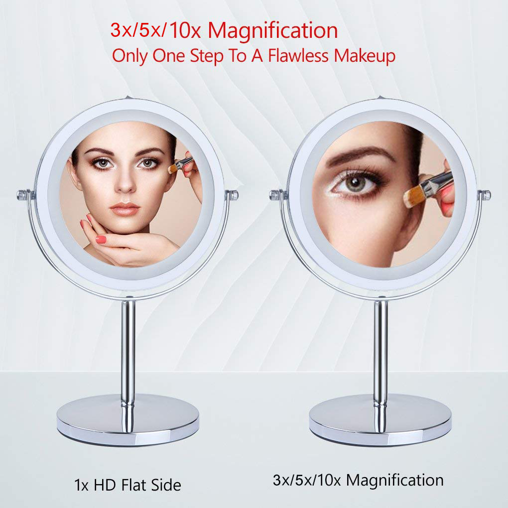 """Hot Sales 6"""" 7"""" 8"""" Double Face Led Vanity 3X 5X 10X Magnifying Makeup Mirror With Led Light"""