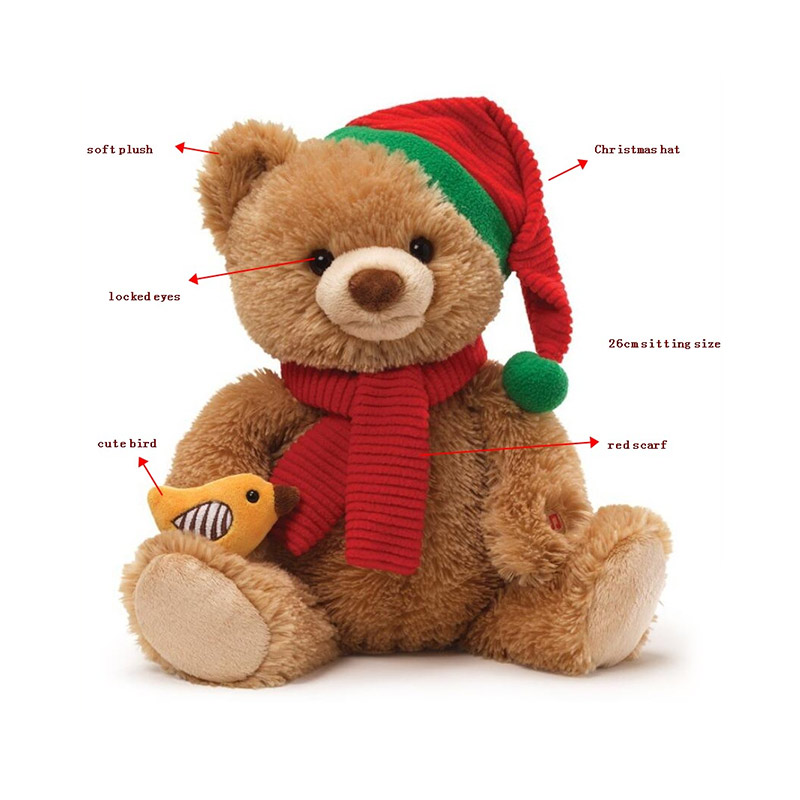 Custom New Stuffed Plush Toy Red Brown Christmas Kids Gift Hat Scarf Big Teddy Bear