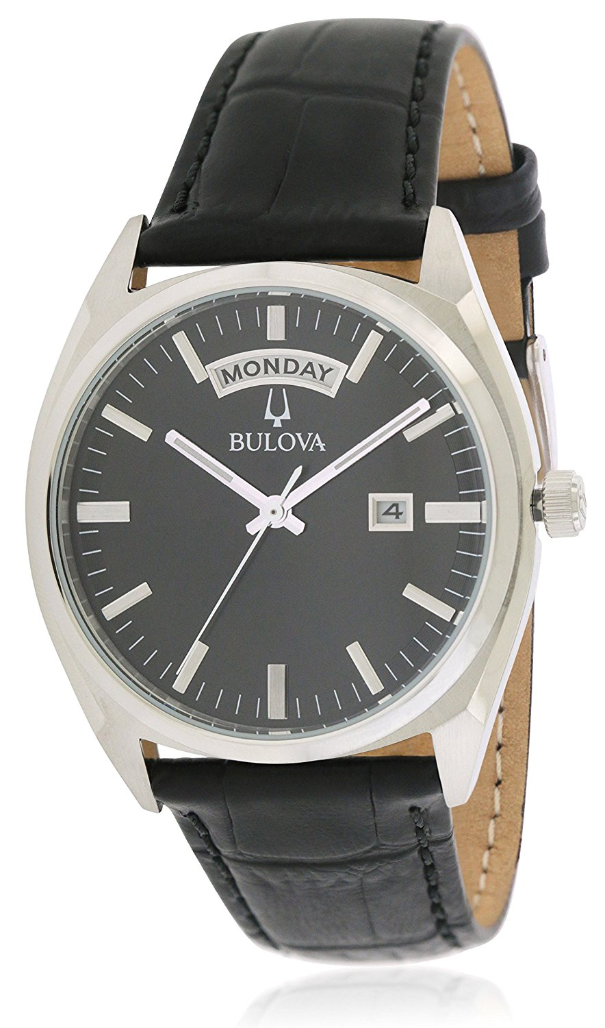 55687e91e Get Quotations · Bulova Dress 96C128(2) Mens Leather Band Black Quartz Dial  Watches