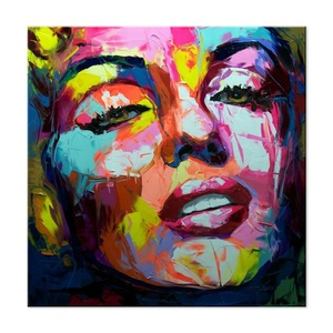 Colorful Woman Head Portrait Knife Oil Painting Professional Hand Painting Modern Pop Art wall art cuadros decorativos