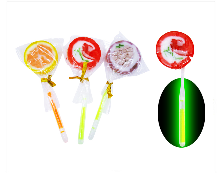 WQ Double side fruit image Lollipop sweet Hard Candy with light stick 10g