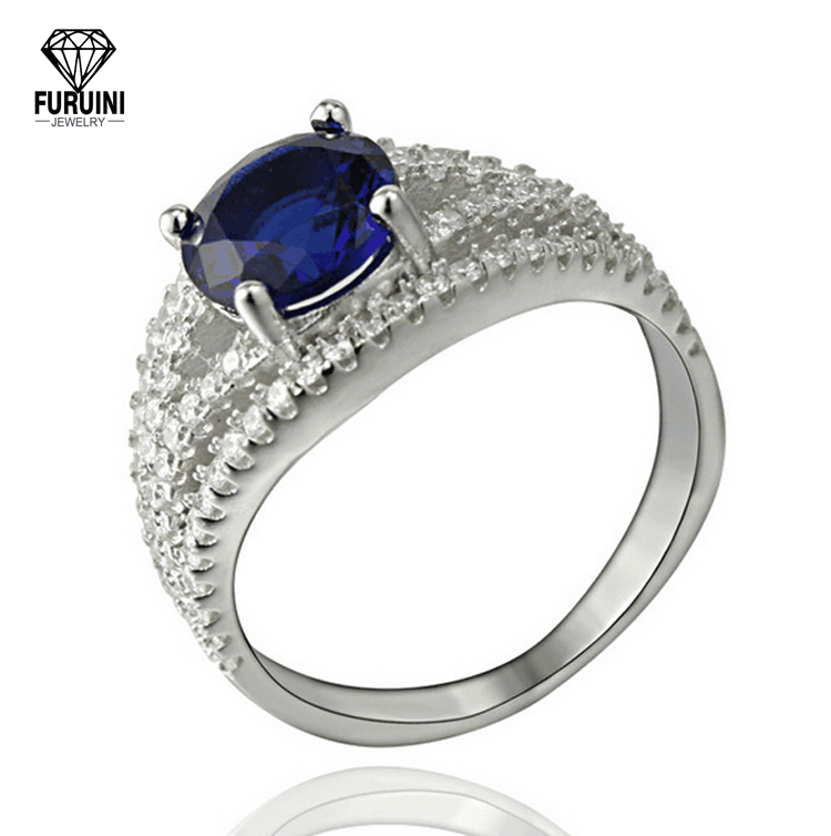FRNL160 Pincess Cut Sapphire Diamond Jewelry Micro Pave Rhodium Plated 18k white gold cluster ring