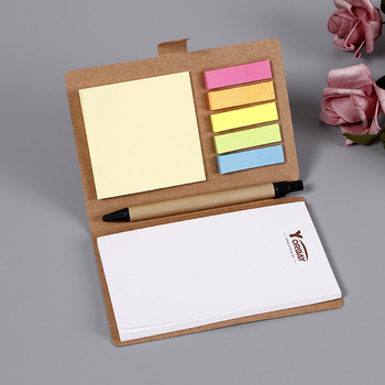 Promotie Bruin Cover Spiraal Notebook Bekleed Kladblok met Pen in Houder en Sticky Notes notebook sticky note