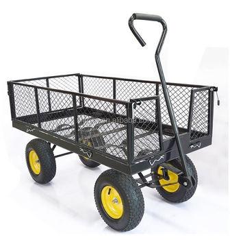 Directly Factory Sale Garden Wire Mesh Wagon Cart Steel Utility Cart , Buy  Wooden Garden Cart,Steel Garden Tool Cart,Metal Mesh Heavy Duty Garden Tool