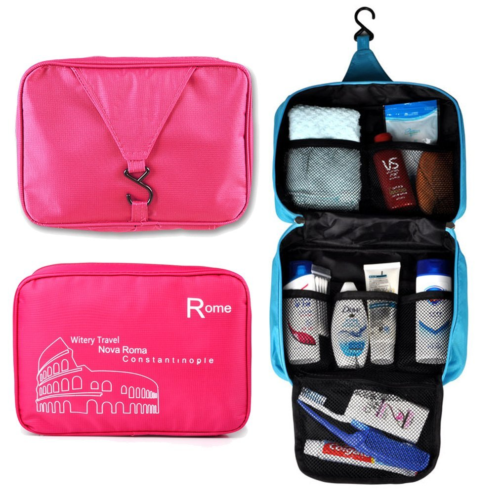 Witery® Spacious Hanging Toiletries Make Up Wash Bags Cosmetics Bags Portable Multifunctional Unisex Water Resistant Printing Travel Hook Up Bags in Bag Rose Red