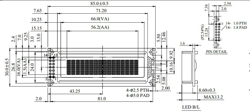 character display 16x 2 lcd have 14 pin interface