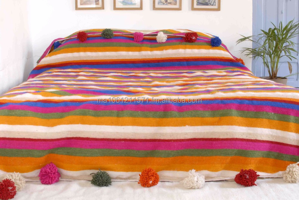 Relatively Moroccan Pom Pom Blanket,Bedspread,Throw,Rug,100% Pure Wool  WK29
