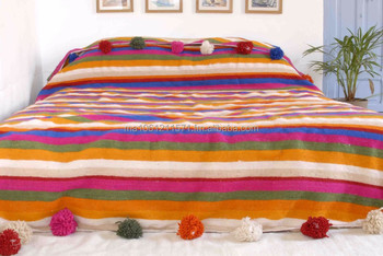 Moroccan Pom Blanket Bedspread Throw Rug 100 Pure Wool