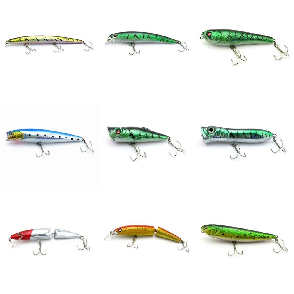 4044 Big One 9 Pieces Fishing Lures Crankbait Freshwater Saltwater Hard Baits Diving Topwater Floating Bass Lots 1223