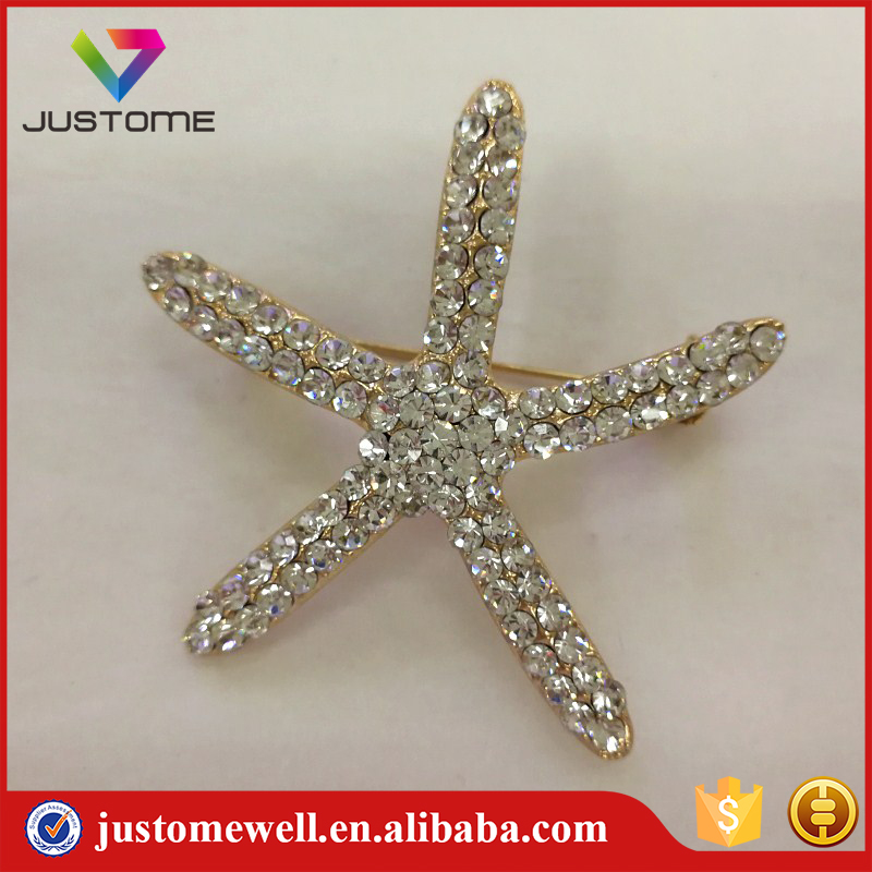 Hot Sale Fashion Simple Starfish Design Alloy Strass Gold Brooch Pin in Bulk