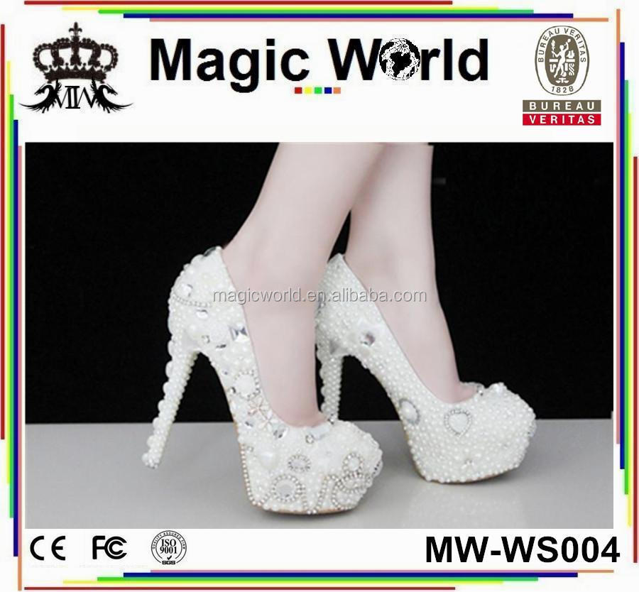 SEXY WEDDING CRYSTAL WOMEN PEARL BRIDAL SHOES 5xPP8