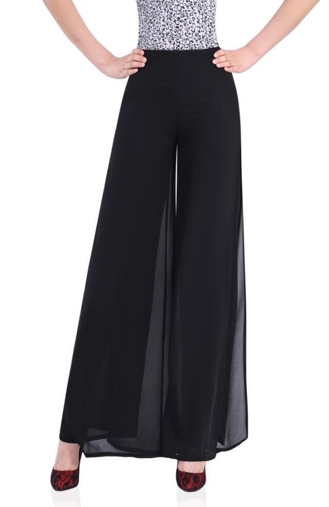 d37eed3a6324 Get Quotations · 2015 summer women wide leg chiffon trousers Loose black side  split disco dress pants Ladies beach