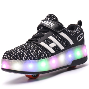 LED shoes Children Wheel Shoes Fashion Breathable Boy & Girls Sports Casual Heelys Shoes Male & Female Kids Roller Sneakers