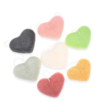 Free Shipping Cost to India Wholesale Heart Shaped Face Cleansing Konjac Sponge Puff Set Organic Bamboo Charcoal Konjac Sponge