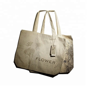 Custom Private Printed Brand Logo Cotton Jute Canvas Shopping Bag