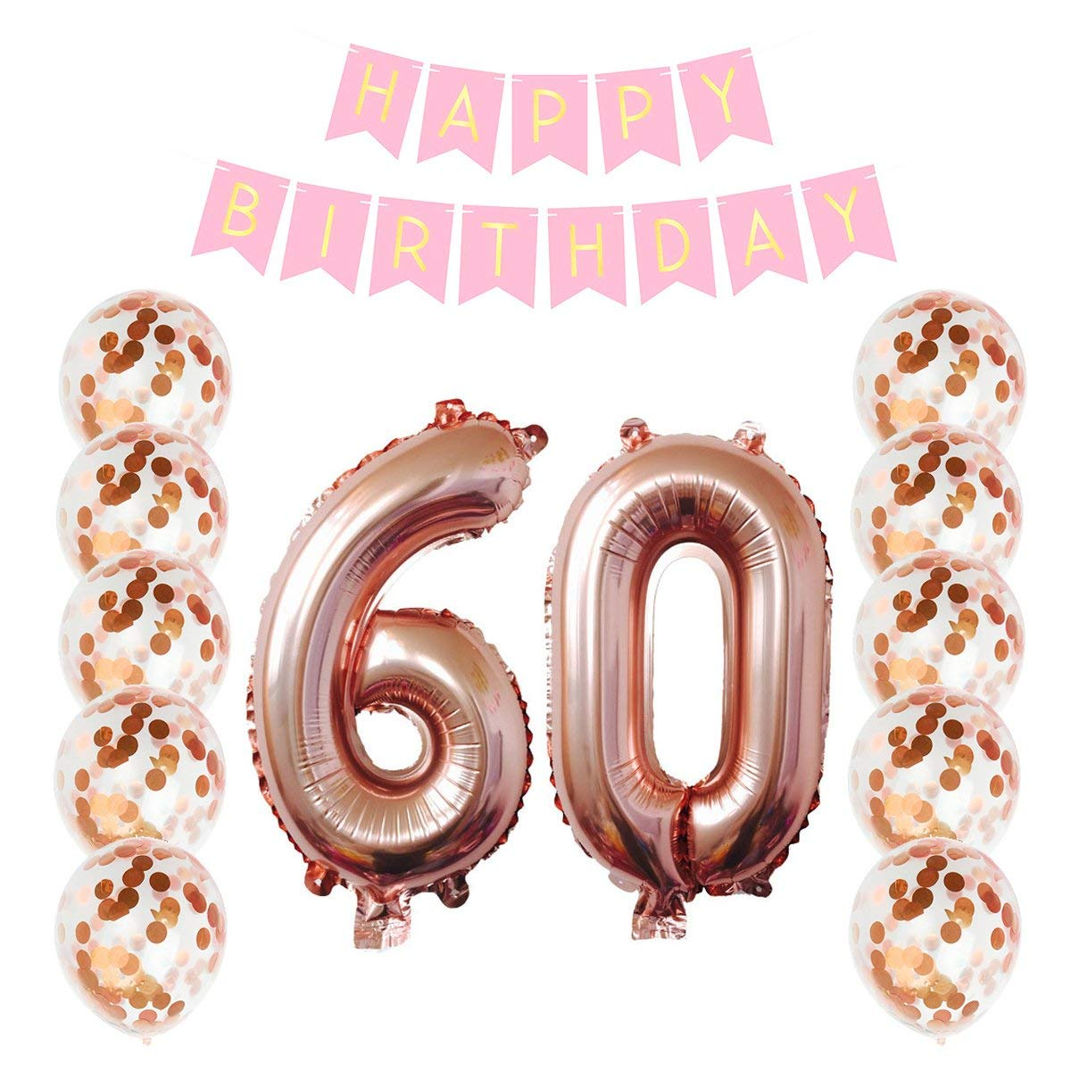 Get Quotations Ezeso Birthday Decorations Happy Banner 10 Pieces 12 Inch Rose Gold Confetti Dots Balloons