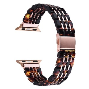 2019 Women Men Stainless Steel Buckle Seven Links Resin Watch Strap 40mm 44mm for Apple Watch Series 4