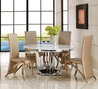 Royal dining set kitchen table modern stainless steel marble top round dinning table