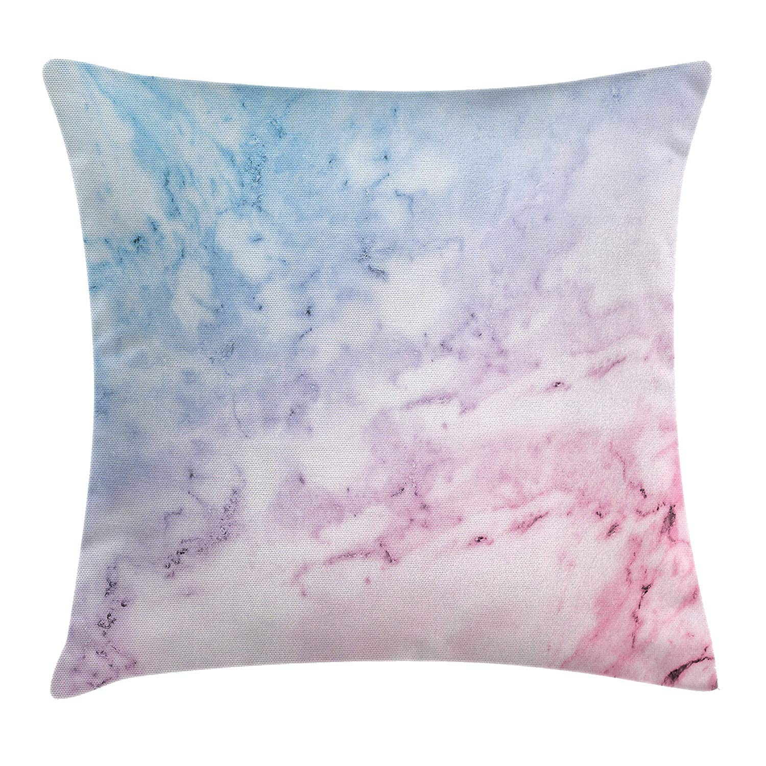 Ambesonne Marble Throw Pillow Cushion Cover, Pastel Toned Cloudy Hazy Crack Lines Stained Antique Shabby Chic Design, Decorative Square Accent Pillow Case, 36 X 36 Inches, Pale Blue Baby Pink