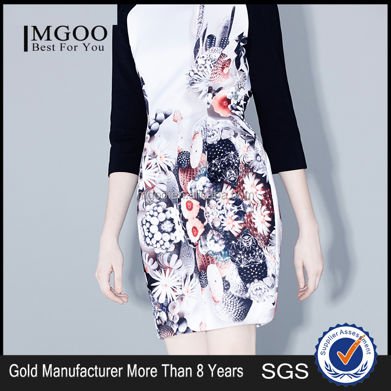 MGOO Alibaba Wholesale Dress Manufacturer OEM/ODM Raglan Three Quarters Dress Party Girl One Piece Ladies Dress M143SKT47