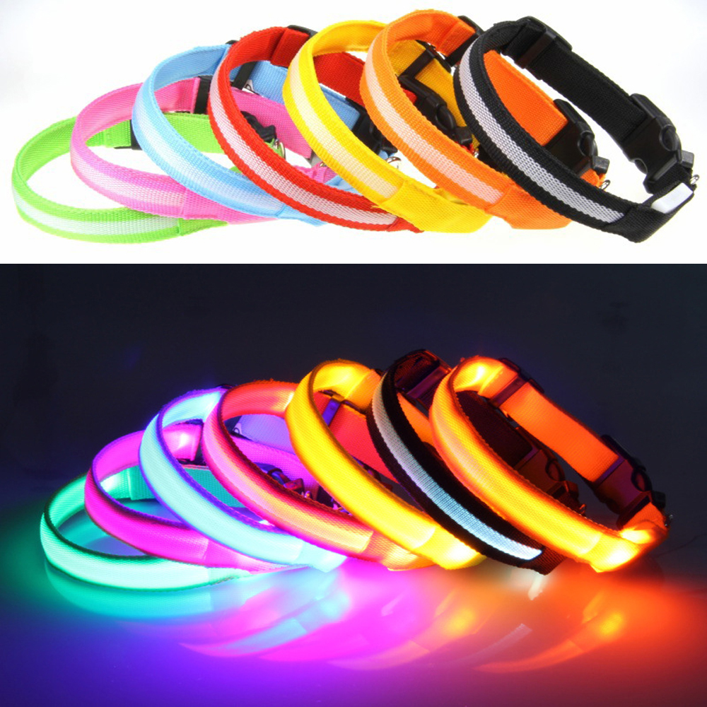 Pet dog cat pengisian led dog kerah 7 warna USB rechargeable led anjing kerah